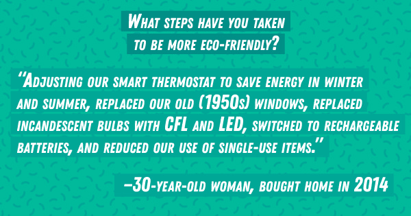 What steps have you taken to be more eco-friendly?
